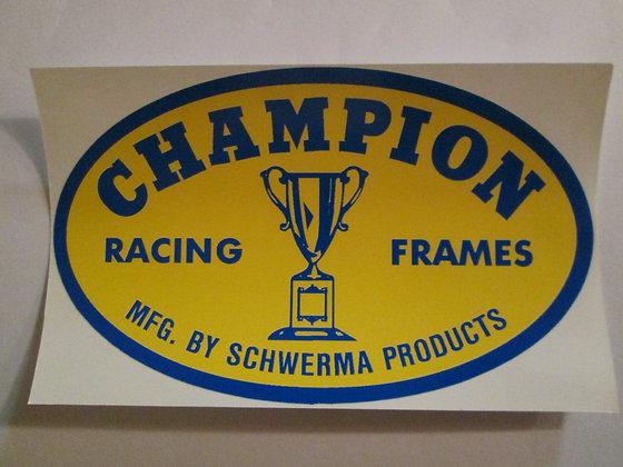 "Champion 5"" Frame Decal Harley Racing & Frames"