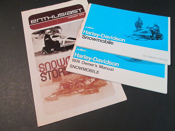 Harley Snowmobiles 72 & 74 Owners Manuals and Enthusiast