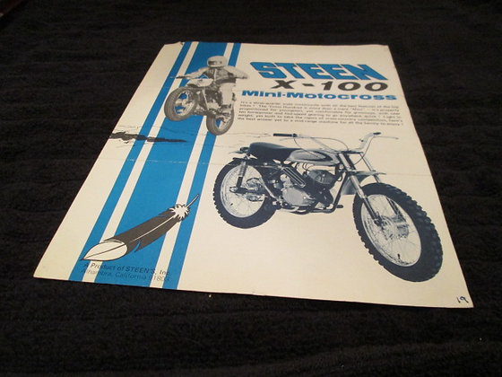 STEEN X-100 Mini Motocross Sales Flyer