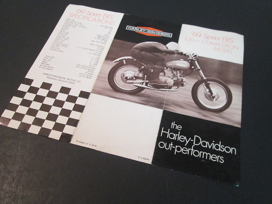 Harley Davidson Sprint ERS 350  1969 Original Sales Brochure