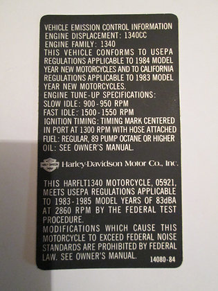 Vehicle Emissions Control Decal Harley FLT-1340