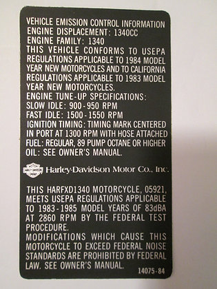 Vehicle Emissions Control Decal Harley FXD-1340