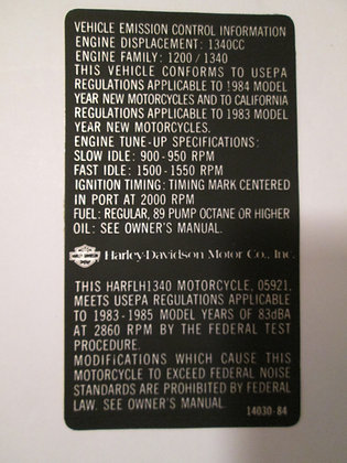 Vehicle Emissions Control Decal Harley FLH-1340