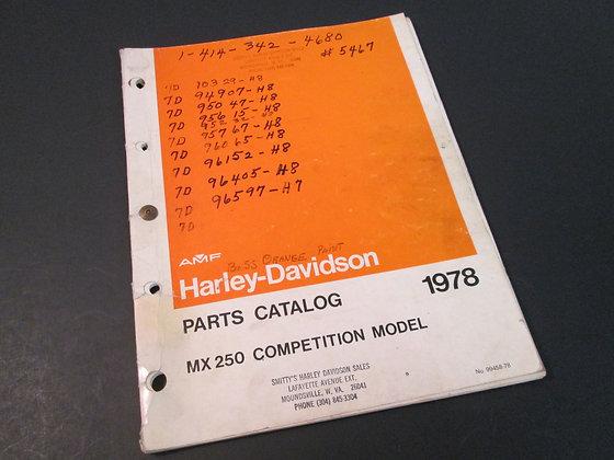 AMF Harley Davidson MX-250 1978 MX250 Competition Model Parts Catalog