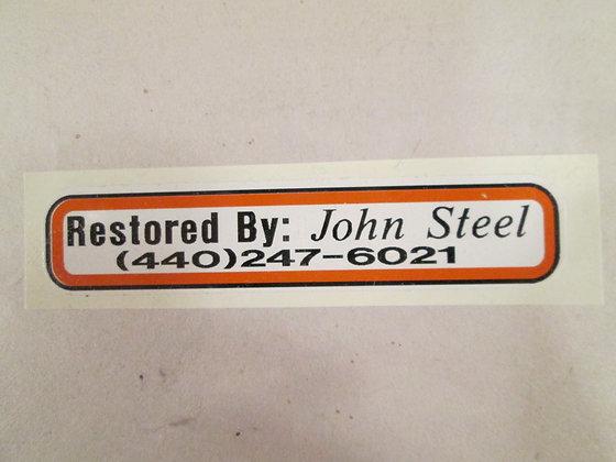 Restored By:  John Steel Decal