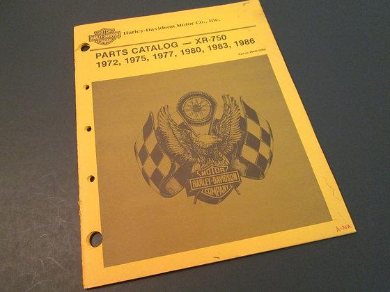 Harley Davidson XR-750 1972-75, 77, 80, 83, & 86 Parts Catalog