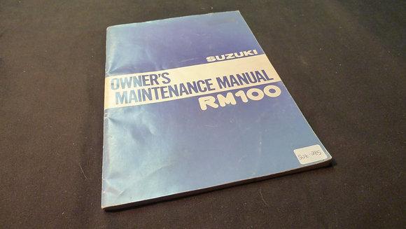 1978 Suzuki Owners Maintenance Manual RM100