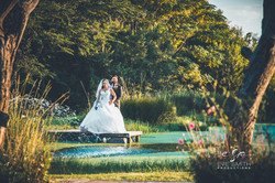 Wedding photography: Couple shoot by the dam at sunset
