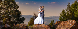Wedding photography: Couple hugging for sunset photo