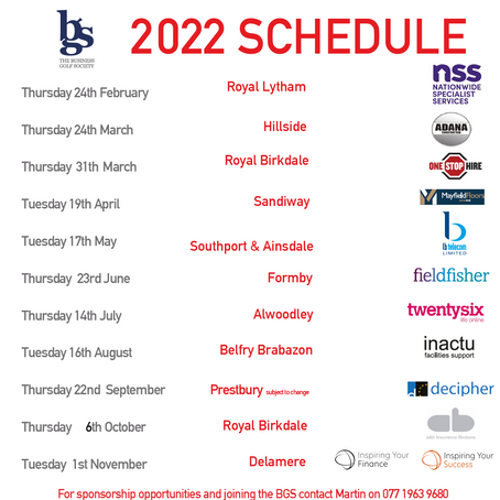 Schedule for 2022