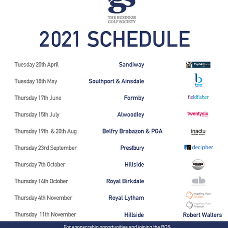Business Golf Society 2021 Sponsors venues & dates.  Join Now!