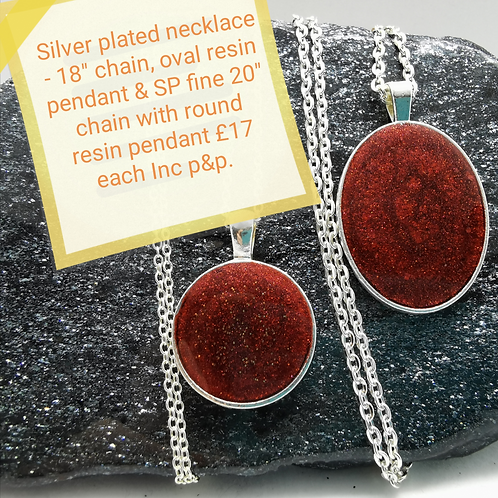 Silver Plated Resin Necklaces