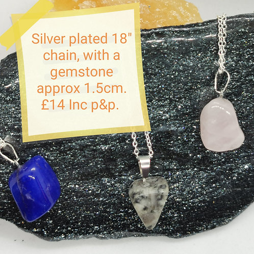 Silver Plated Small Gemstone Necklaces