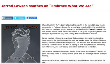 """""""Embrace What We Are"""" write-up on SoulTracks"""