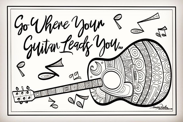 4-30-19 The Guitar Coloring Page By Art