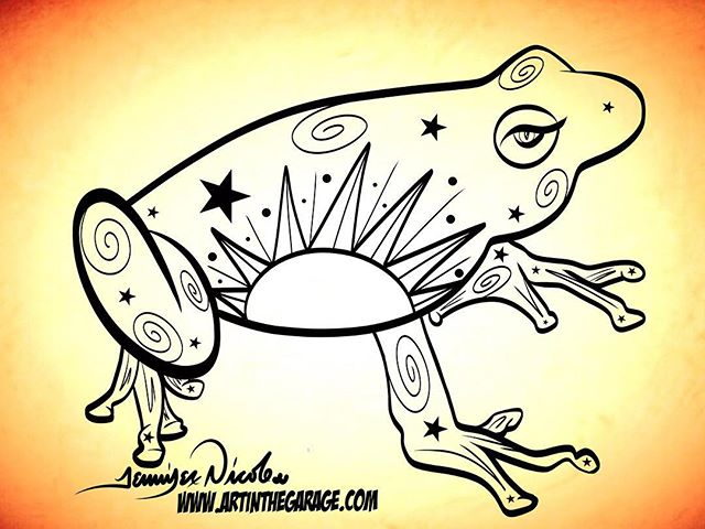 "3-13-18 Folk Art Frog Concept. For the next couple of days I might be doing a few more ""concept"" art"