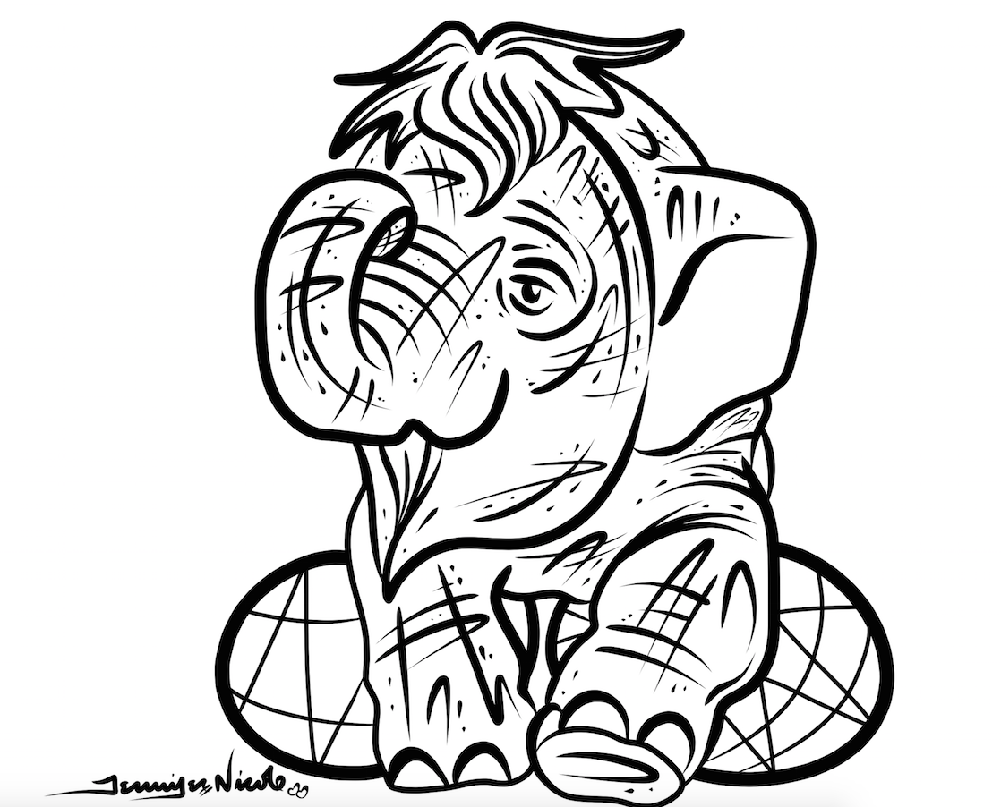 2-16-15 Baby Elephant Outline
