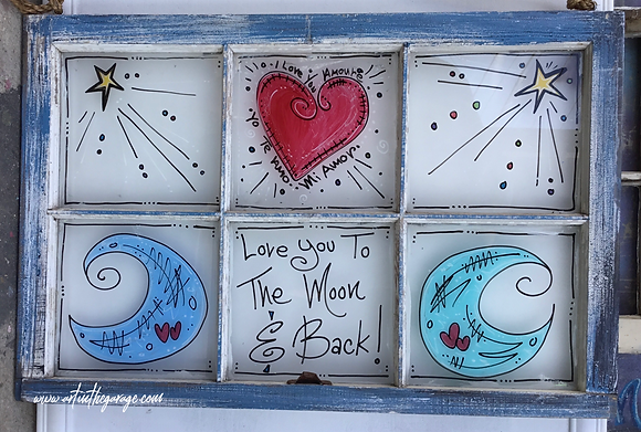 Love You To The Moon And Back: Folk Art Window