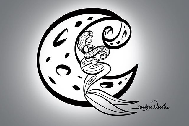 4-29-18 Mergirl And The Moon Outline