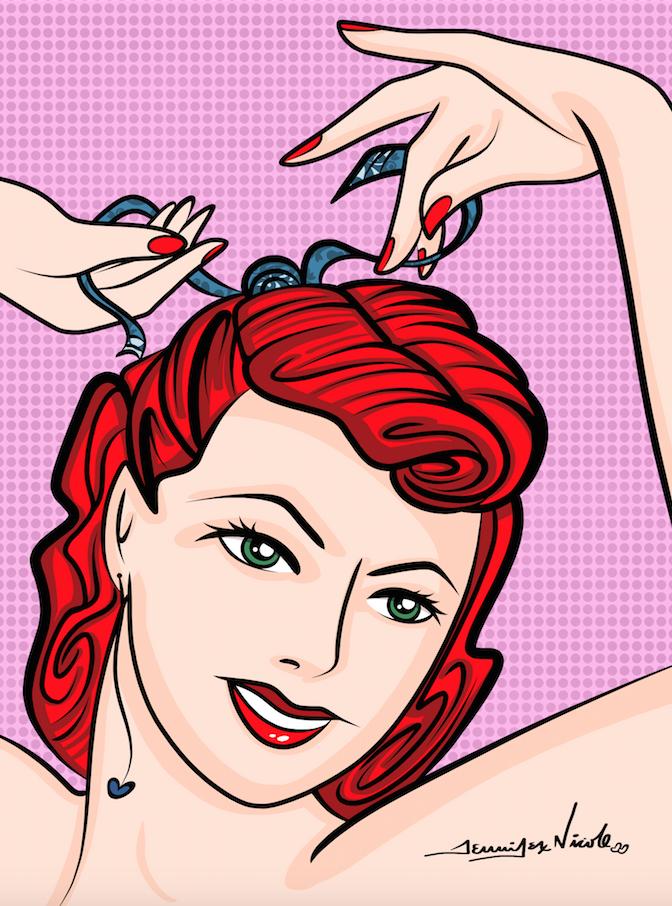 3-25-15 Pin Up Doing Hair