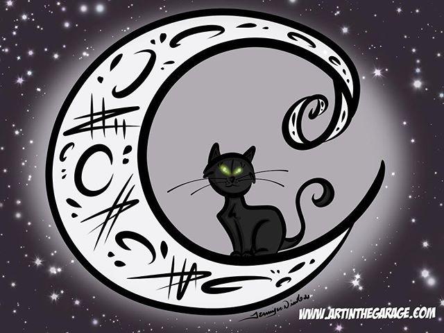 5-13-17 Black Cat-White Moon
