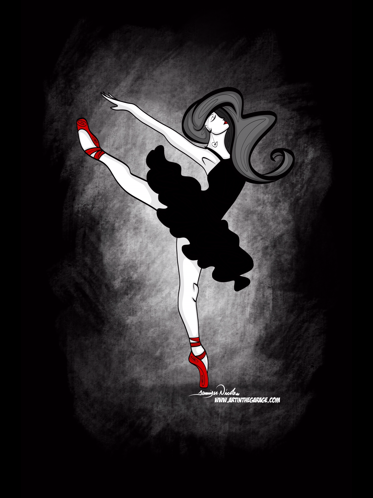 12-16-19 Ballerina With Red Shoes Dark H