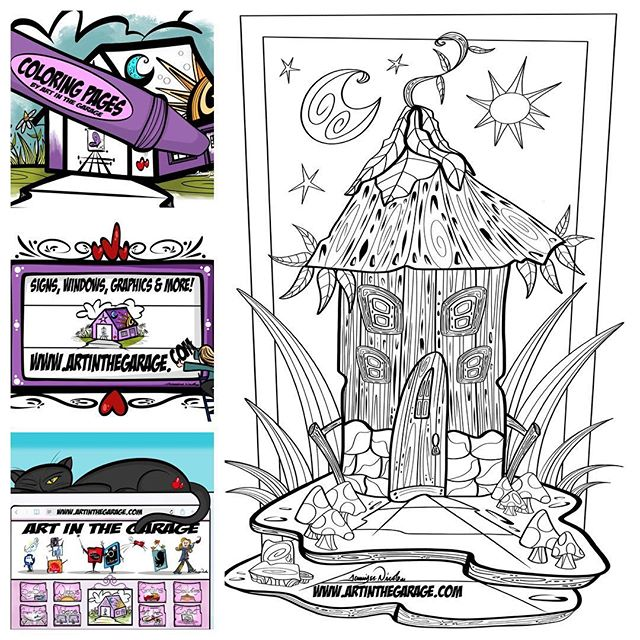 3-30-19 Fairy House Coloring Page By Art