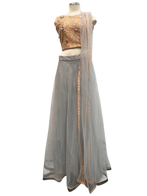 Grey Art Silk Net Lehenga