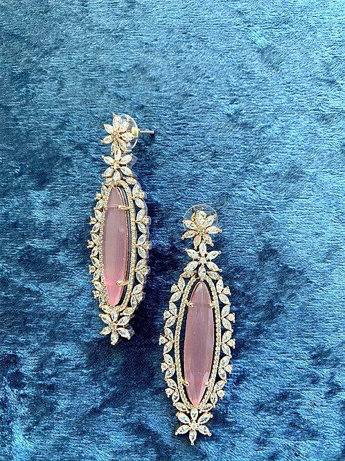 Zirconia and Baby Pink Earrings