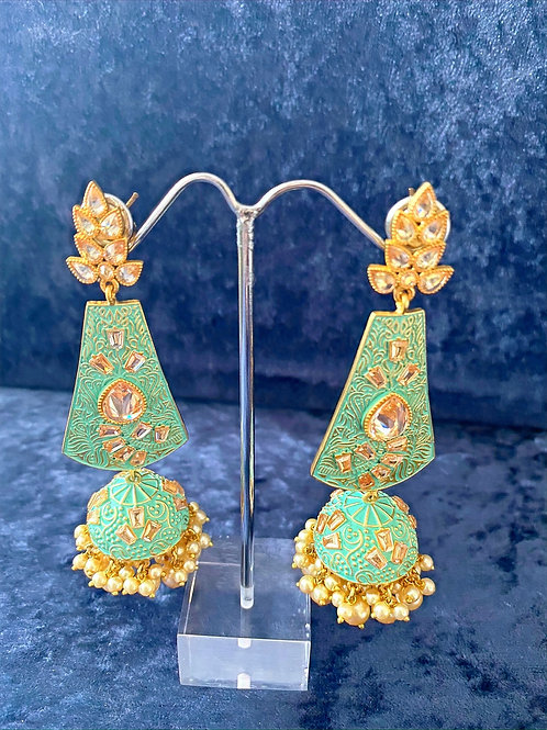 Mint Green Meenakari Earrings with Pearls