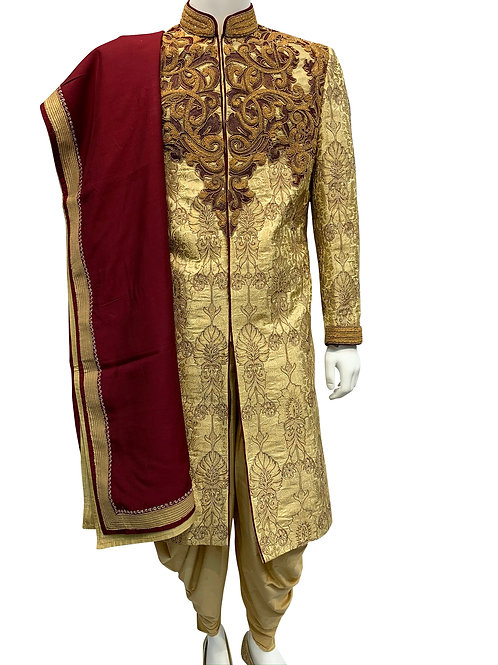 Gold Sherwani with Heavy Embroidery