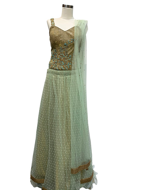 Light Green Silk Net Lehenga