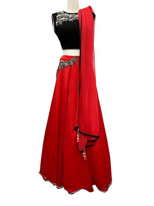 Black and Red Georgette Silk Lehenga