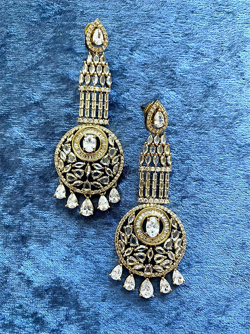 Antique Gold Earrings with Crystals