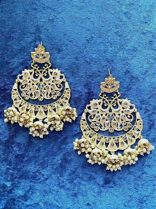 Beige Hand-Painted Meenakari Earrings with Pearls