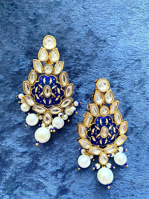 Meenakari Blue Kundan Earrings with Pearls