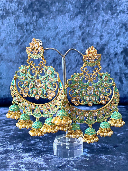 Mint and Gold Hand-Painted Meenakari Earrings with Pearls