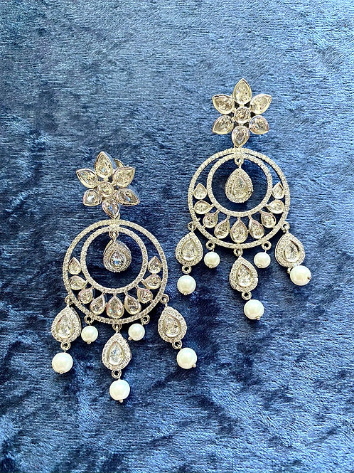 Zirconia Earrings with Pearls