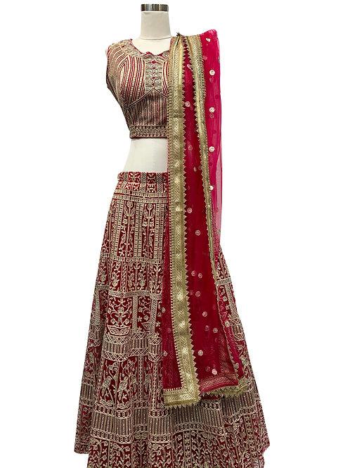Red Heavy Embroidery Lehenga