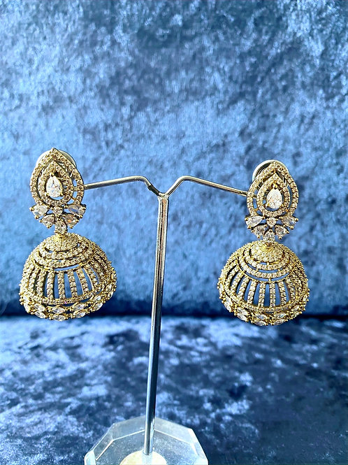 Zirconia Halo Earrings in Antique Gold