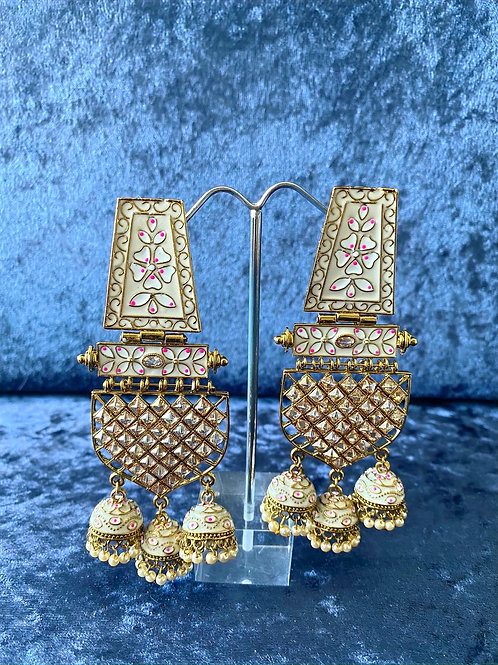 White and Gold with Pink Floral Hand-Painted Meenakari Earrings with Pearls