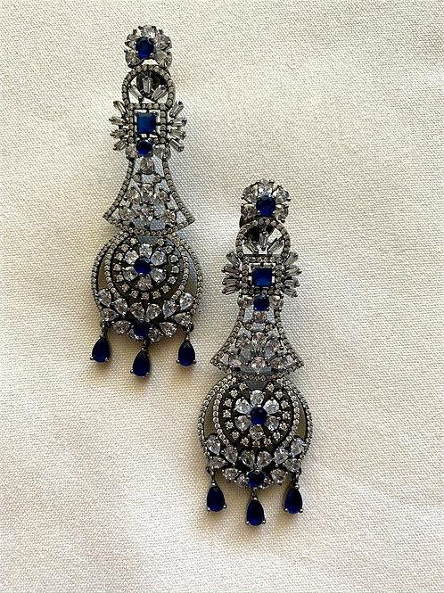 Zirconia Earrings with Sapphire Stones