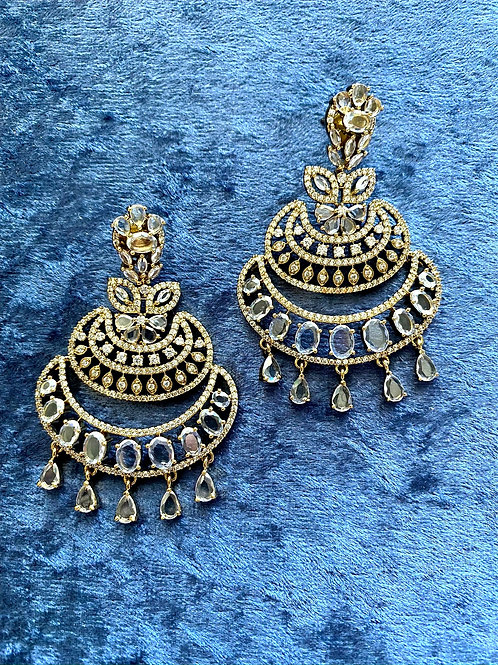Zirconia Earrings on Antique Gold