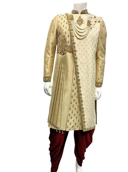 Beige Asymmetrical Pleats Sherwani