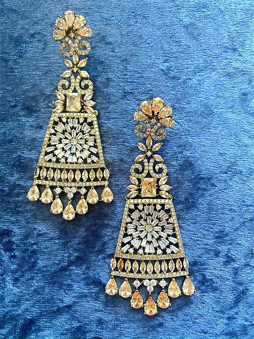 Zirconia Earrings in Antique Gold or Zirconia Earrings in Rose Gold