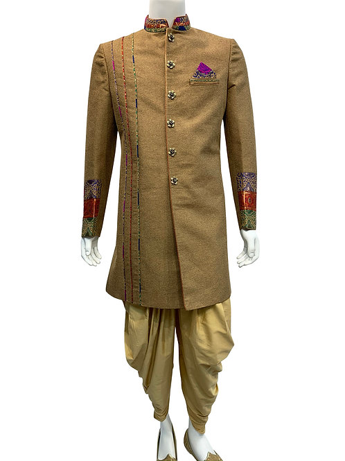 Beige Sherwani with Brocade Fabric