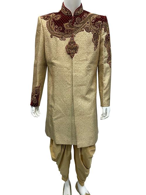 Beige/gold Brocade Embroidery Sherwani