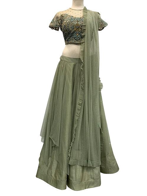 Sage Green Silk Net and Pure Silk Lehenga