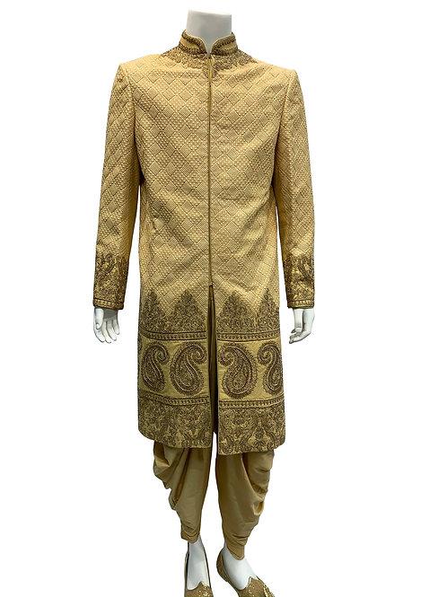 Beige/Gold Jacquard Gold Embroidery Sherwani