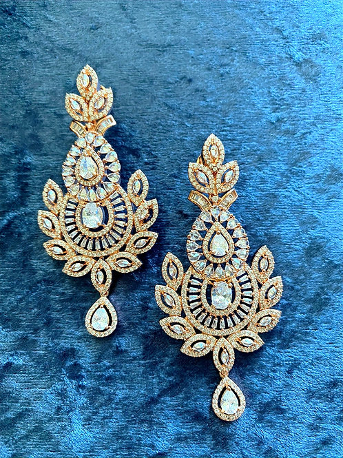 Zirconia Earrings on Antique Gold Finish